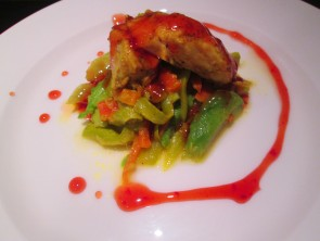 Chicken with avocado and sweet sour sauce